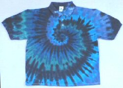 Golf Shirt Teal Spiral Tie-dye