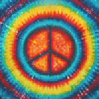 Rainbow Peace-Sign Tie-dye Tapestry